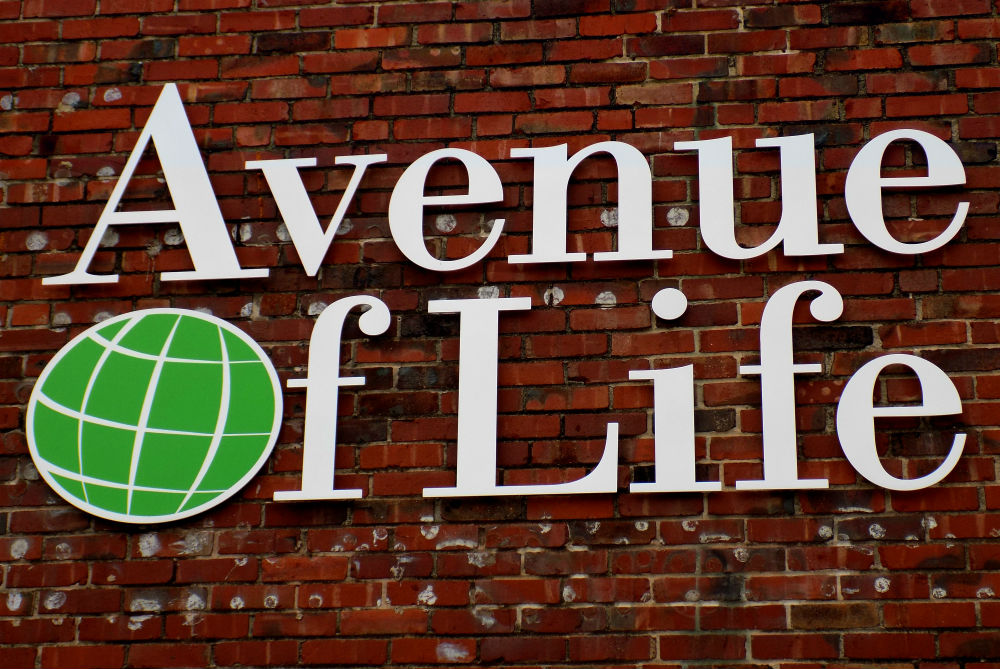 Acrylic dimensional letter storefront sign for Avenue of Life in Kansas City KS