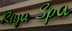 Lighted metal channel letter sign for Riya Spa in Overland Park KS