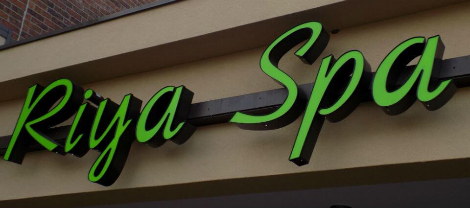 Lighted channel letter sign for Riya Spa in Overland Park KS