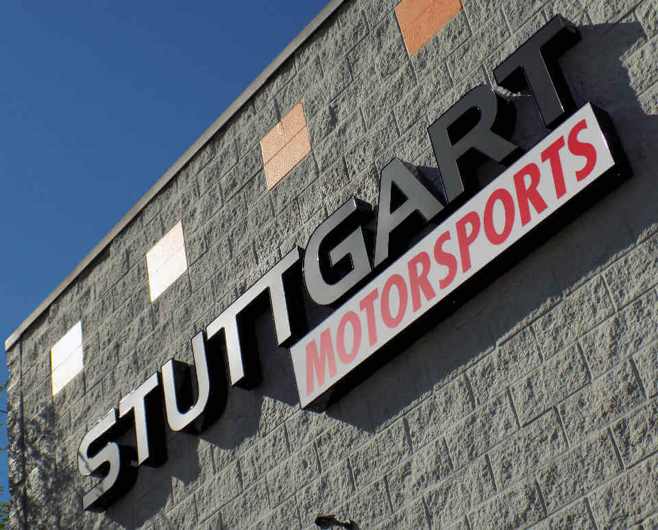 Lighted Letters Metal Channel Letter Sign for Stuttgart Motorsports in Merriam KS